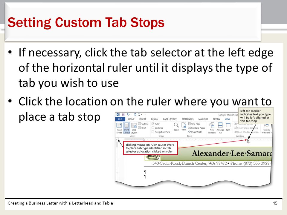 Setting Custom Tab Stops