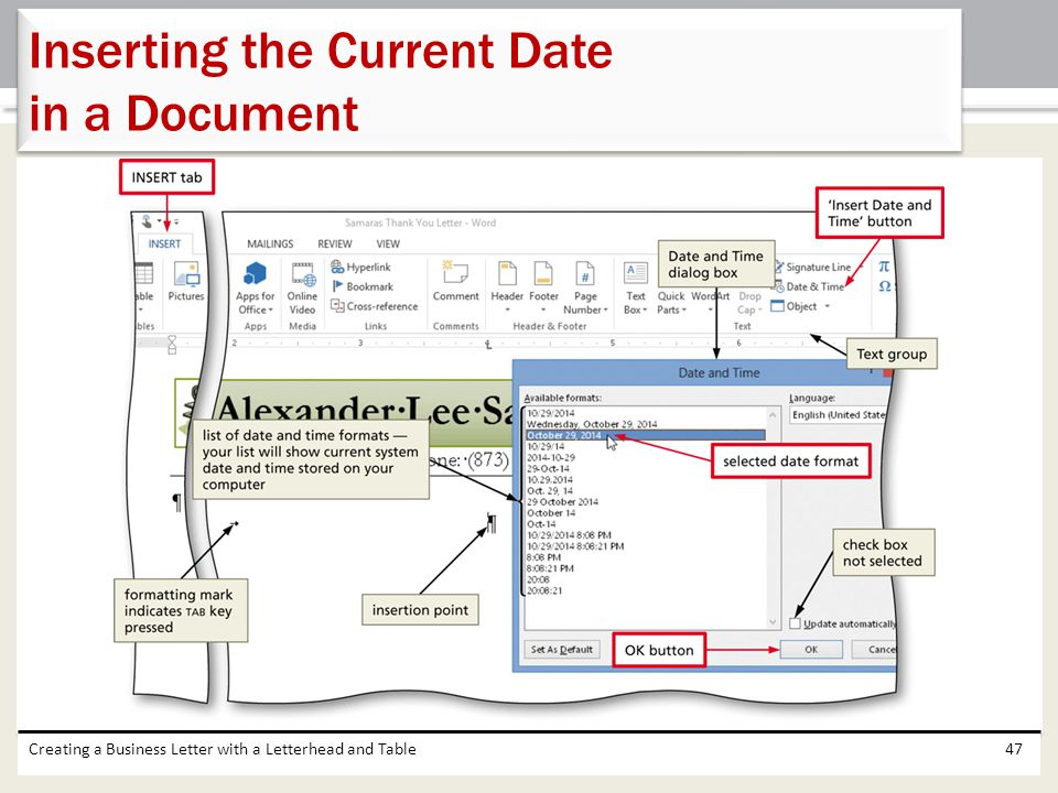 Inserting the Current Date in a Document