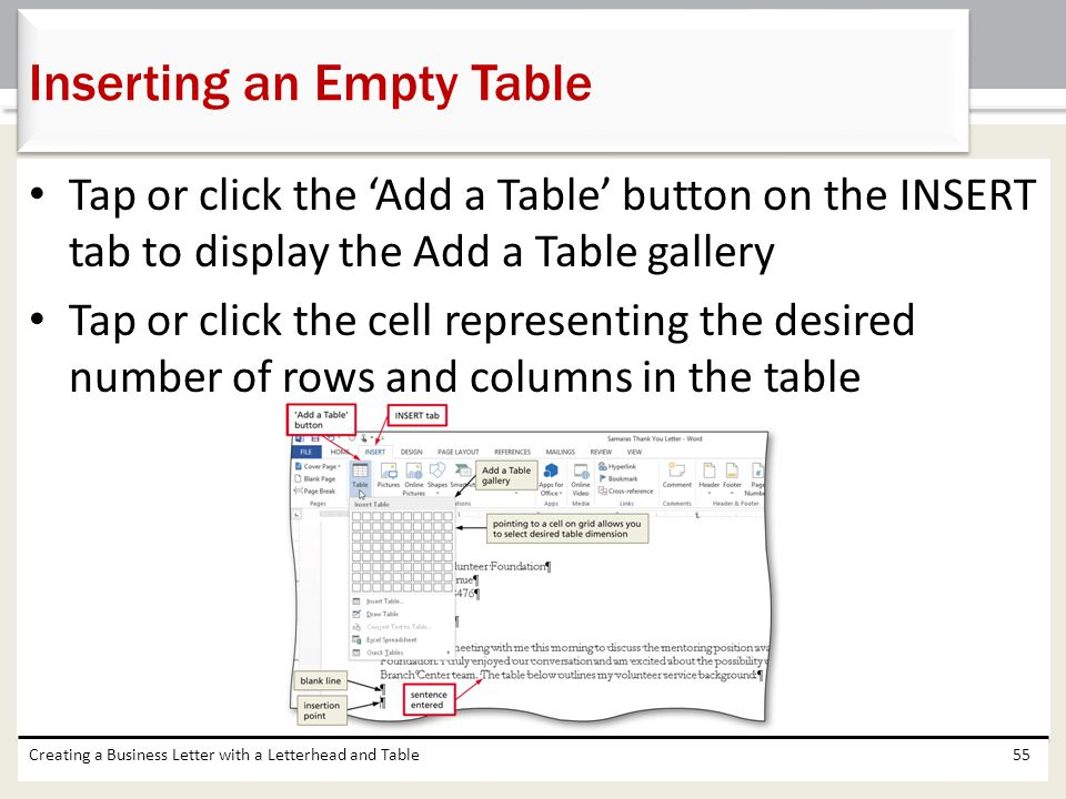 Inserting an Empty Table