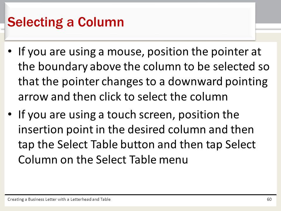 Selecting a Column