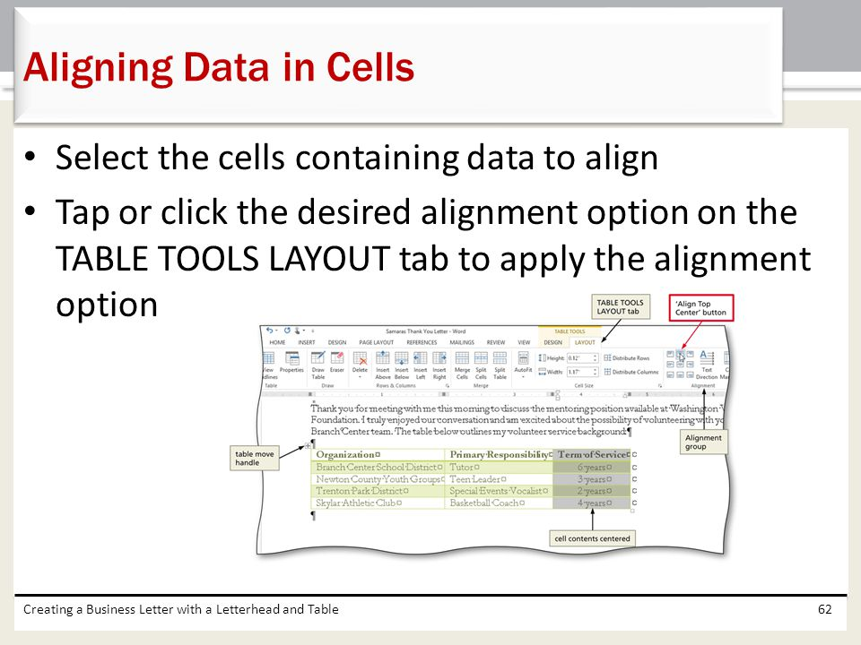 Aligning Data in Cells Select the cells containing data to align