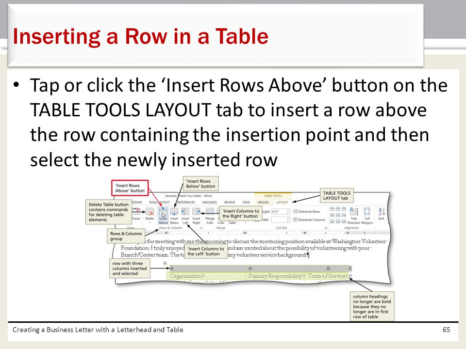 Inserting a Row in a Table