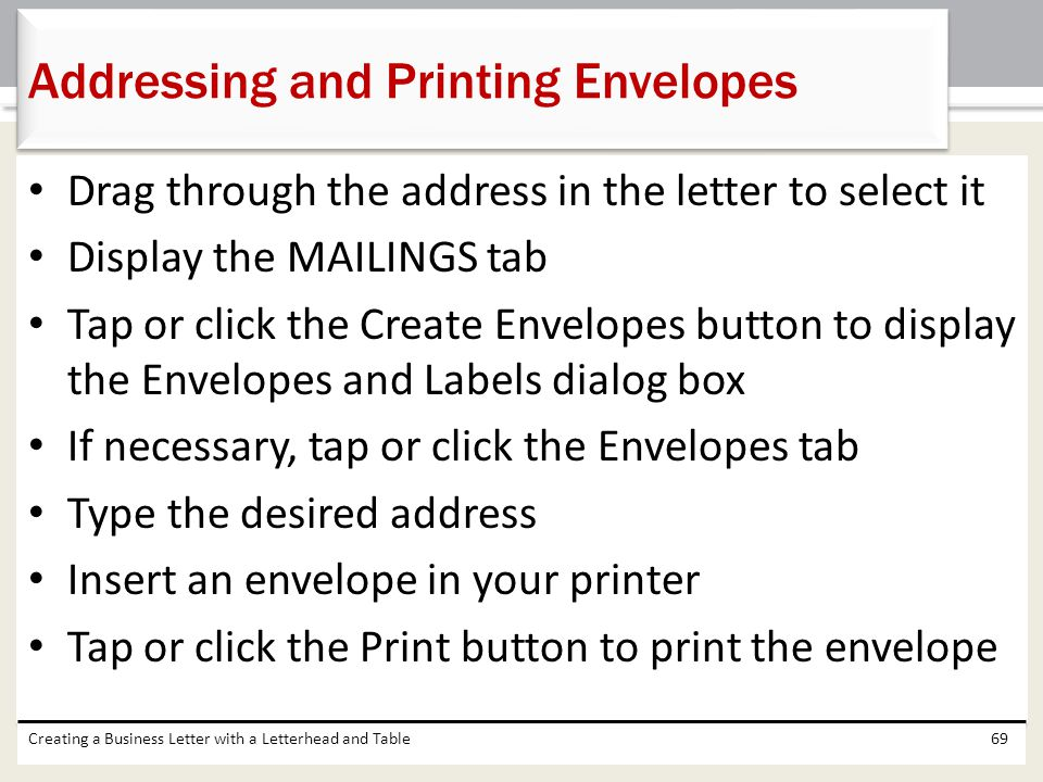 Addressing and Printing Envelopes