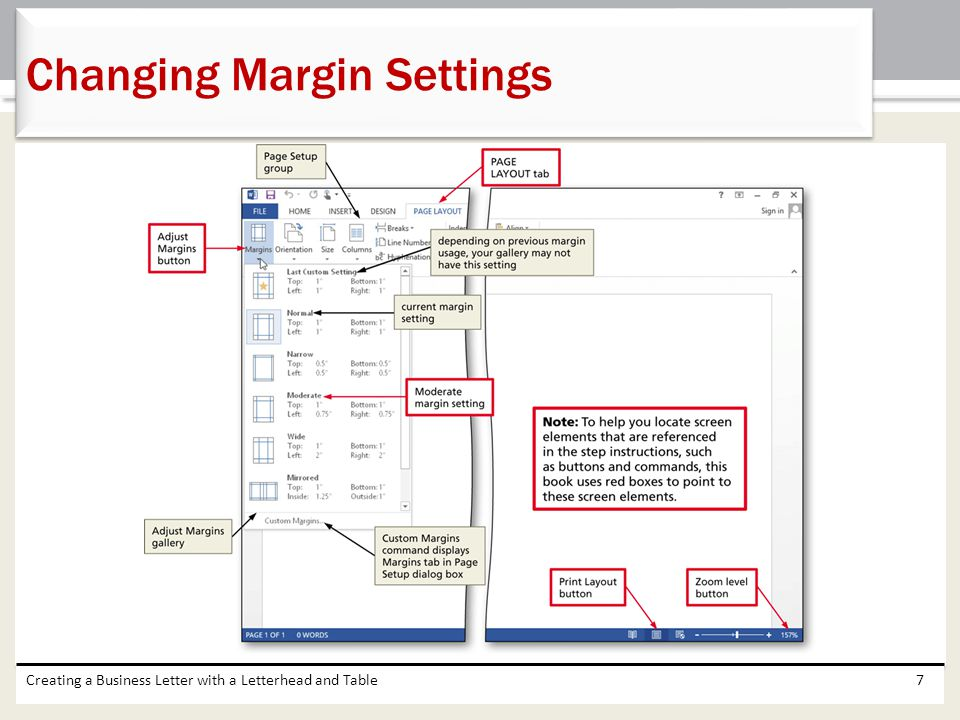 Changing Margin Settings
