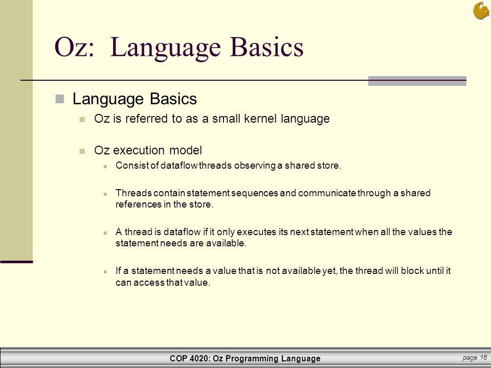 Oz: Language Basics Language Basics