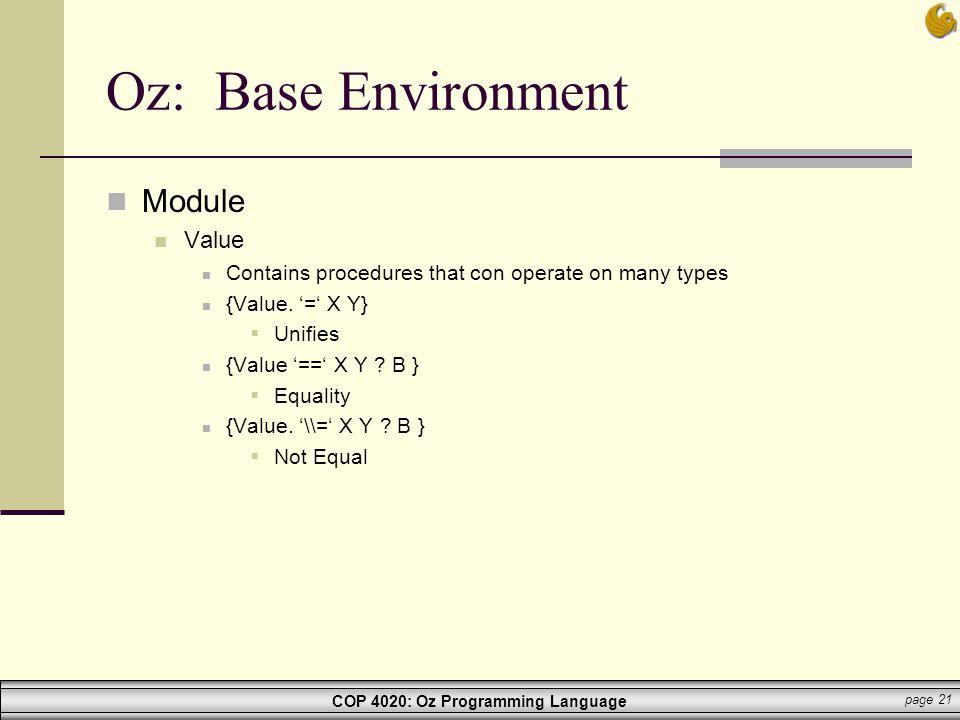 Oz: Base Environment Module Value