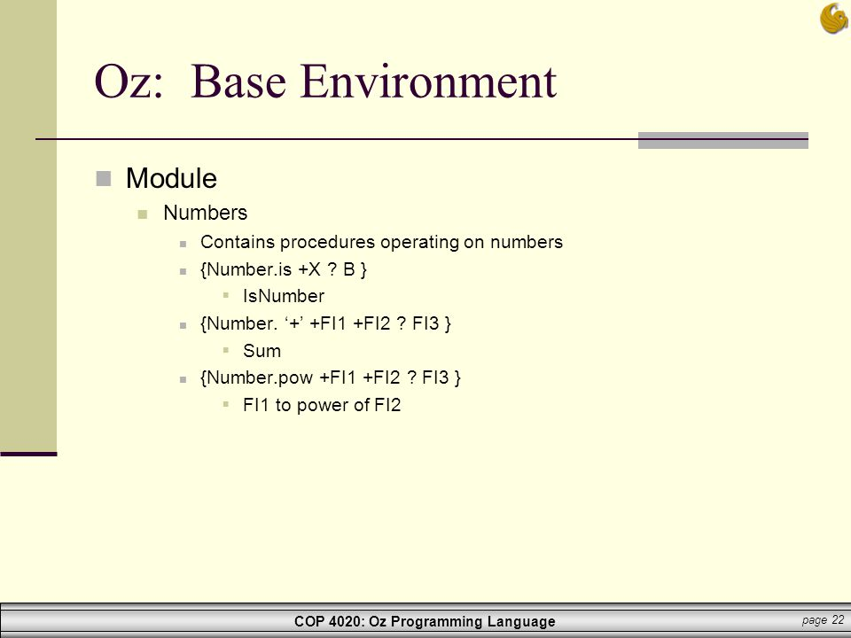 Oz: Base Environment Module Numbers