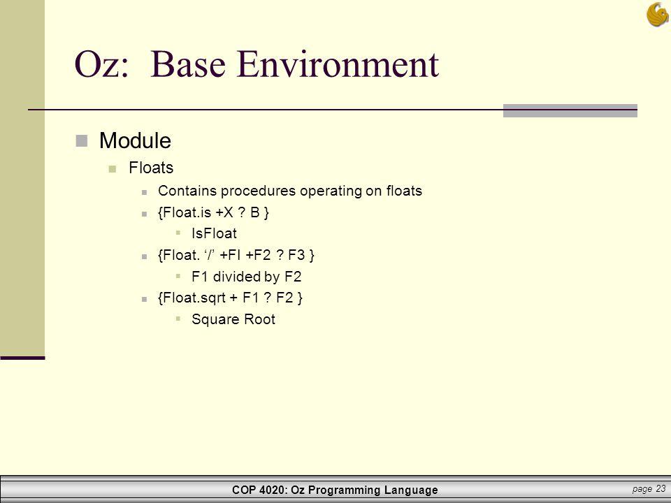 Oz: Base Environment Module Floats