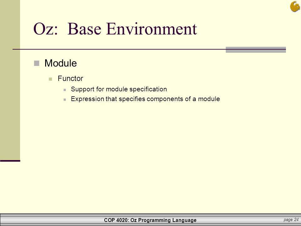 Oz: Base Environment Module Functor Support for module specification