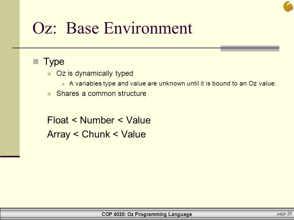 Oz: Base Environment Type Float < Number < Value