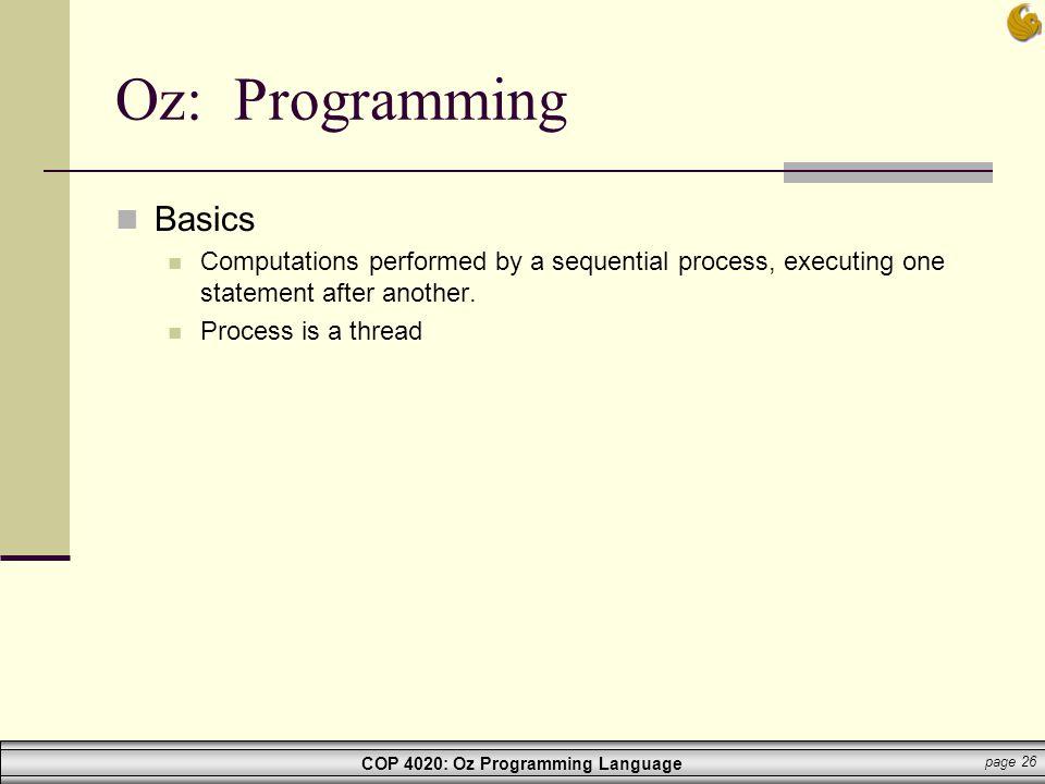 Oz: Programming Basics