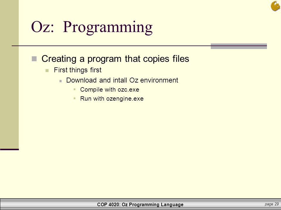 Oz: Programming Creating a program that copies files