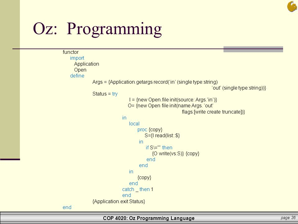 Oz: Programming