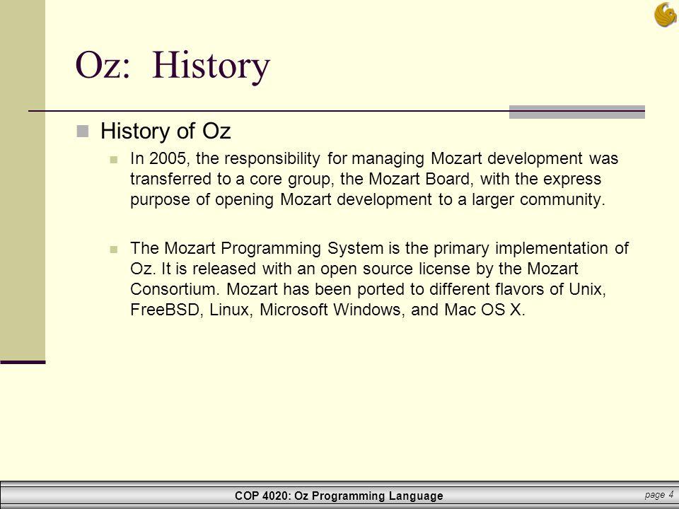 Oz: History History of Oz