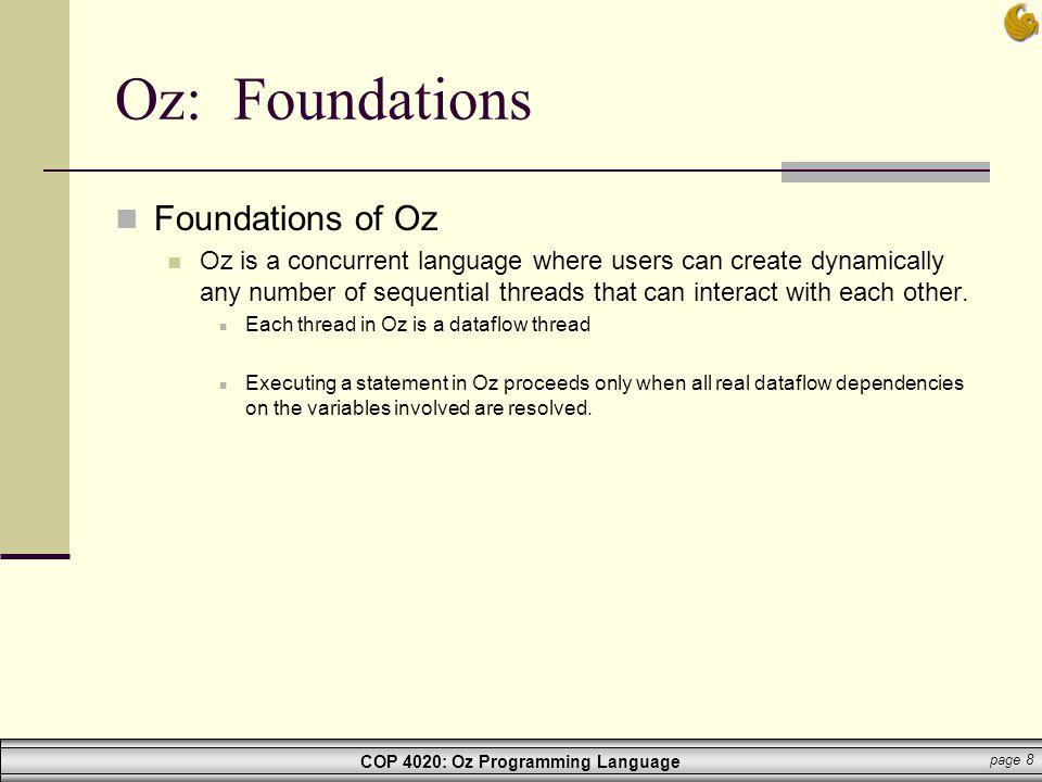 Oz: Foundations Foundations of Oz
