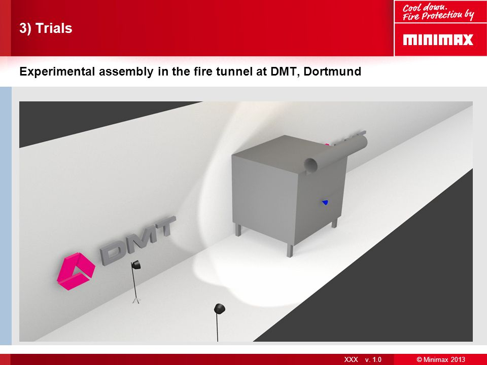 3) Trials Experimental assembly in the fire tunnel at DMT, Dortmund