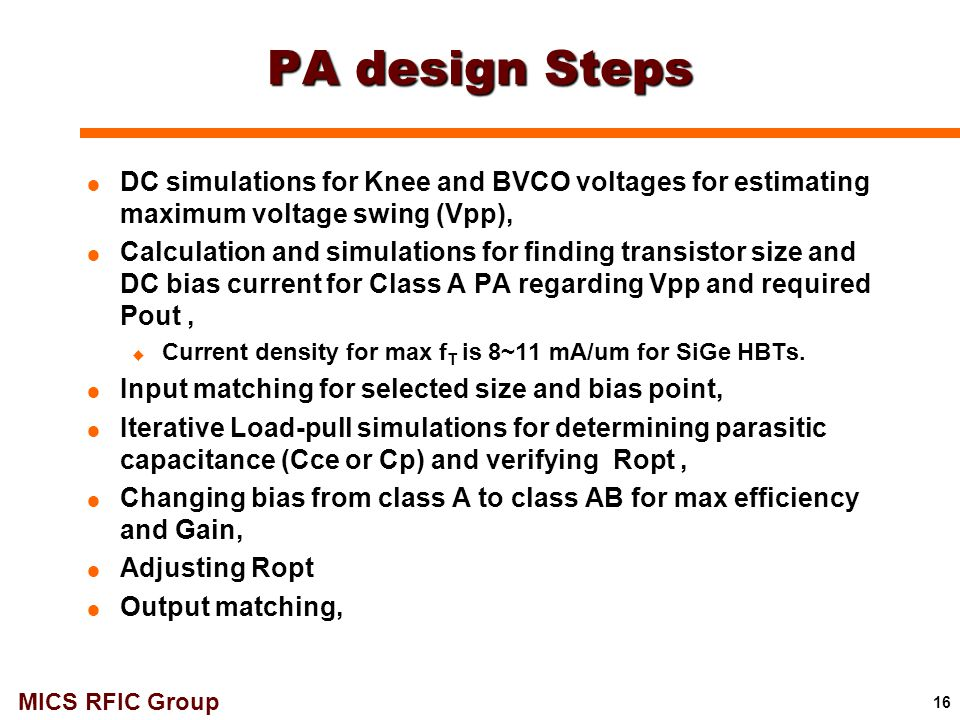 PA design Steps DC simulations for Knee and BVCO voltages for estimating maximum voltage swing (Vpp),