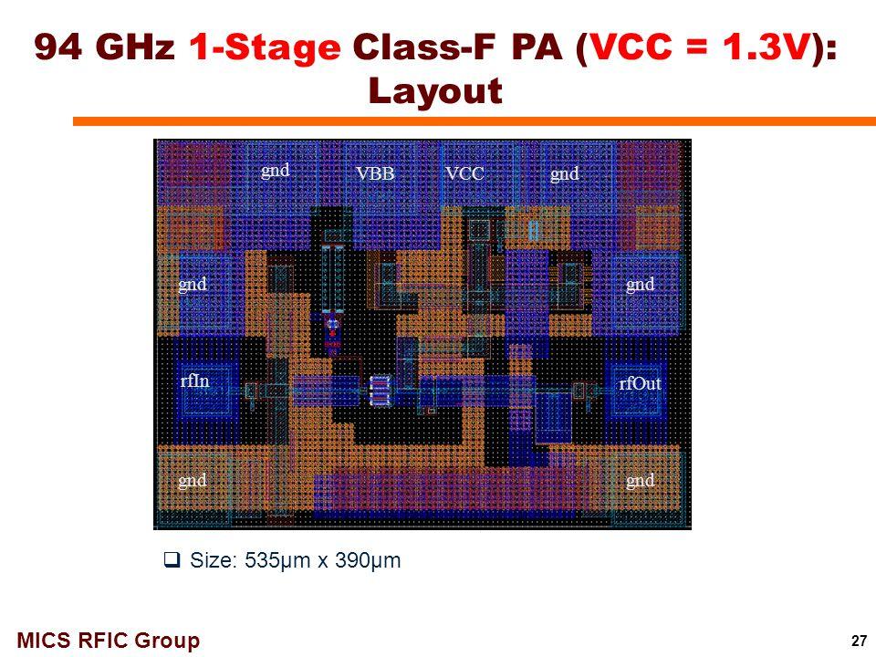 94 GHz 1-Stage Class-F PA (VCC = 1.3V): Layout