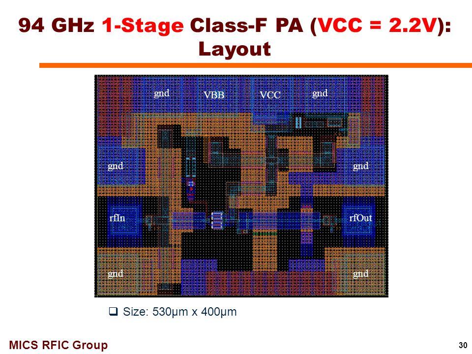 94 GHz 1-Stage Class-F PA (VCC = 2.2V): Layout