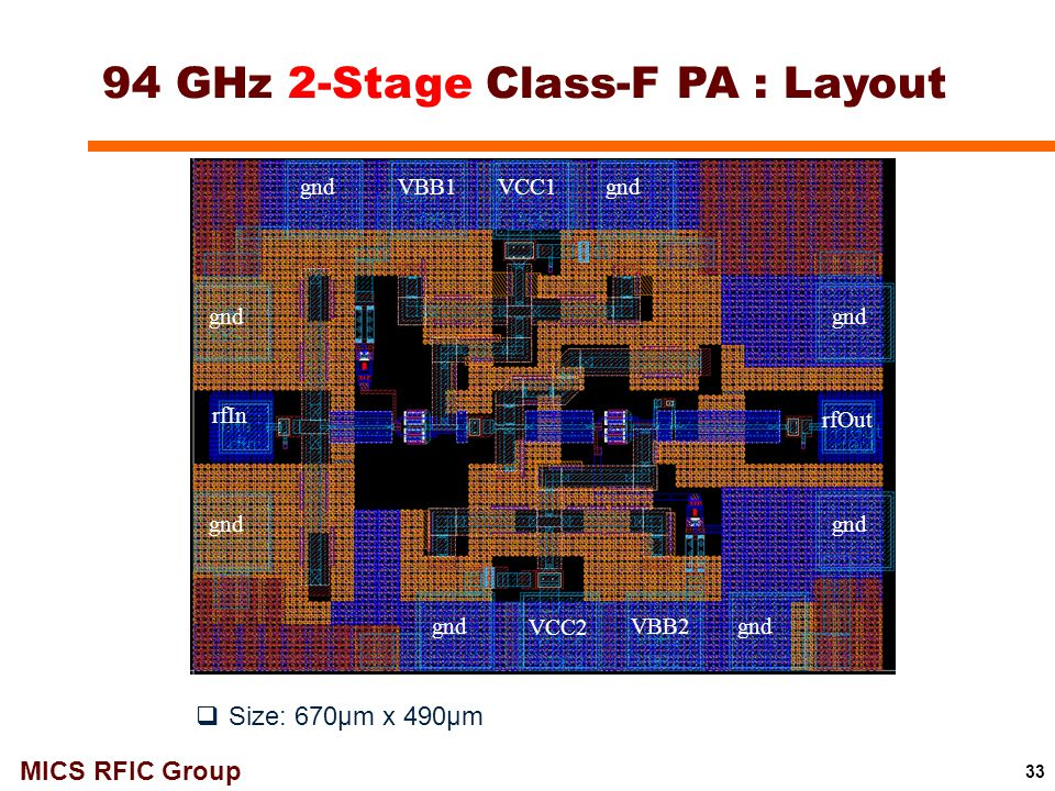 94 GHz 2-Stage Class-F PA : Layout