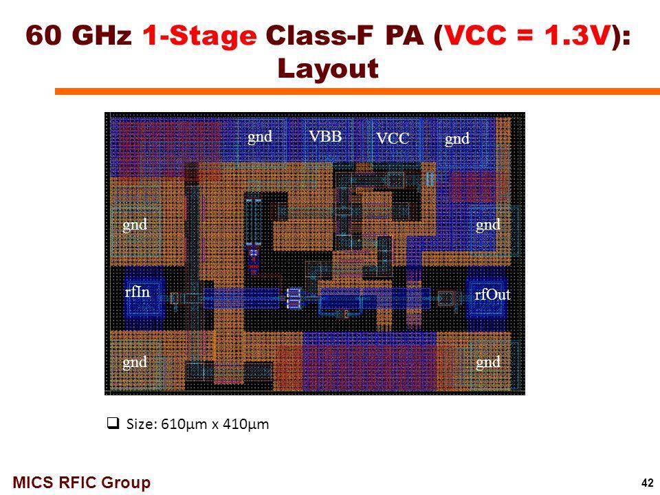 60 GHz 1-Stage Class-F PA (VCC = 1.3V): Layout