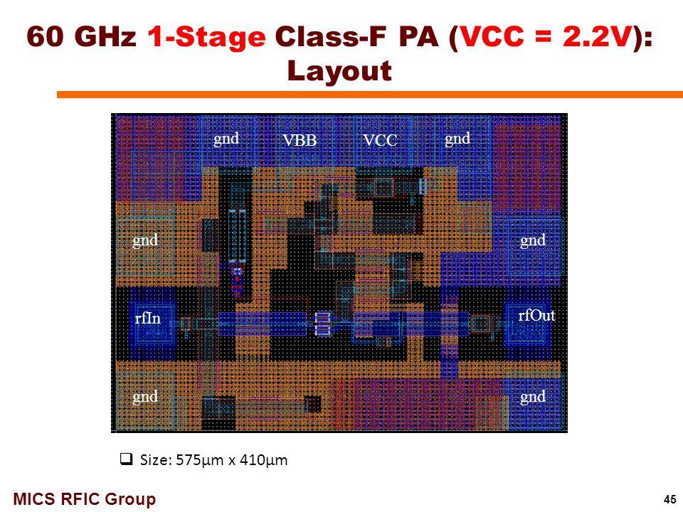 60 GHz 1-Stage Class-F PA (VCC = 2.2V): Layout