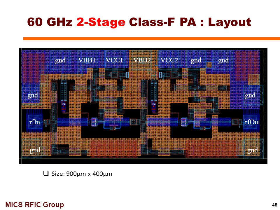 60 GHz 2-Stage Class-F PA : Layout