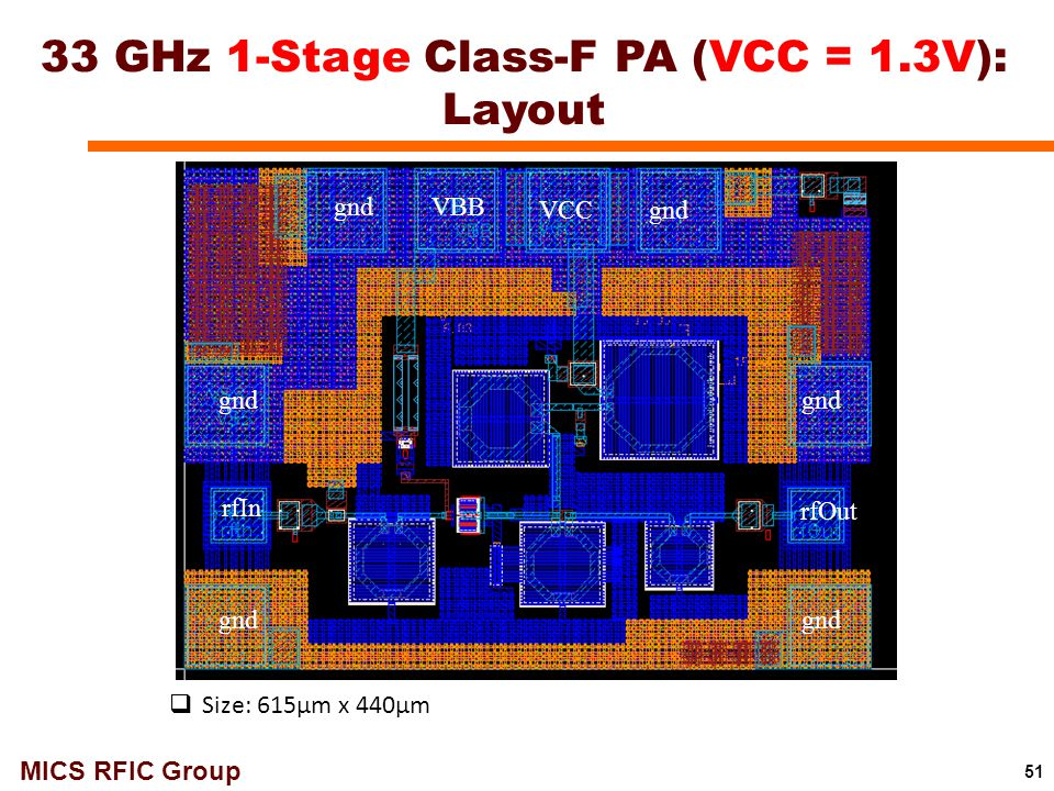 33 GHz 1-Stage Class-F PA (VCC = 1.3V): Layout