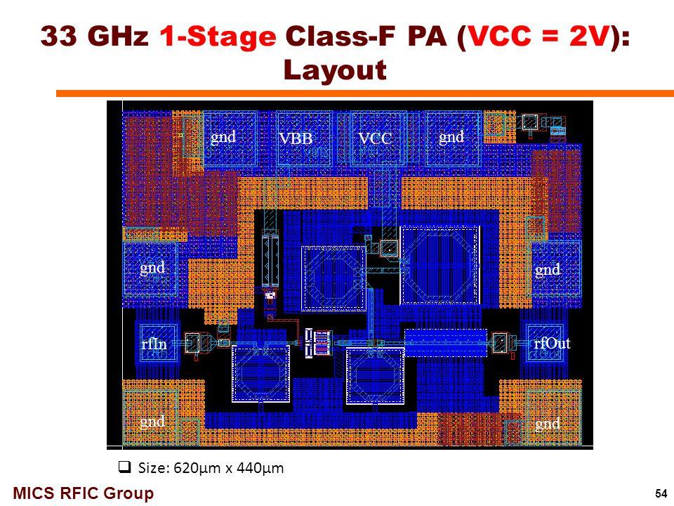 33 GHz 1-Stage Class-F PA (VCC = 2V): Layout