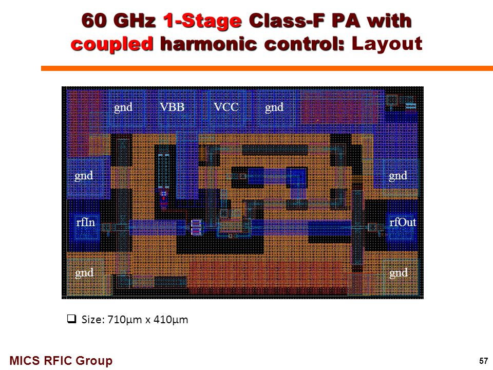 60 GHz 1-Stage Class-F PA with coupled harmonic control: Layout