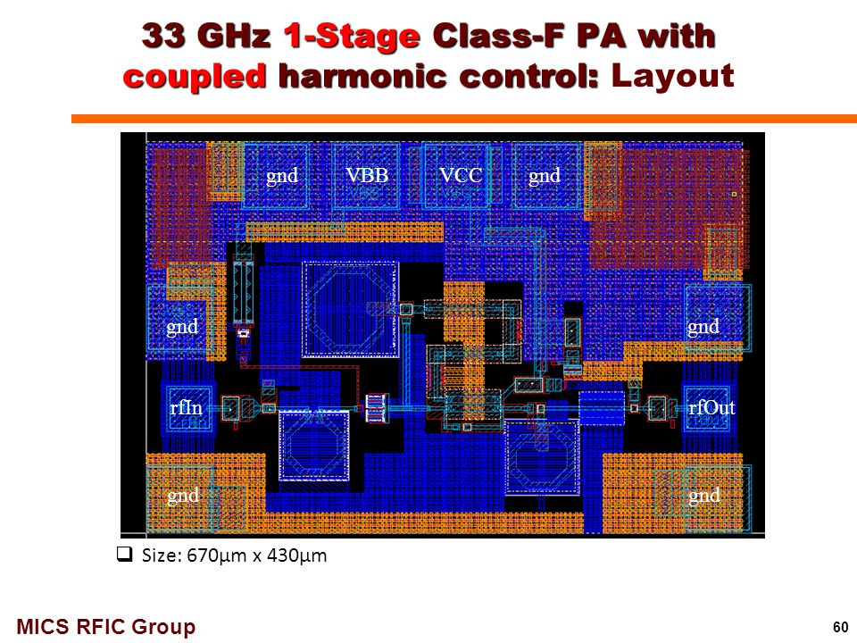 33 GHz 1-Stage Class-F PA with coupled harmonic control: Layout