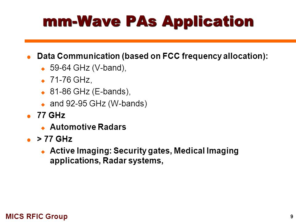 mm-Wave PAs Application