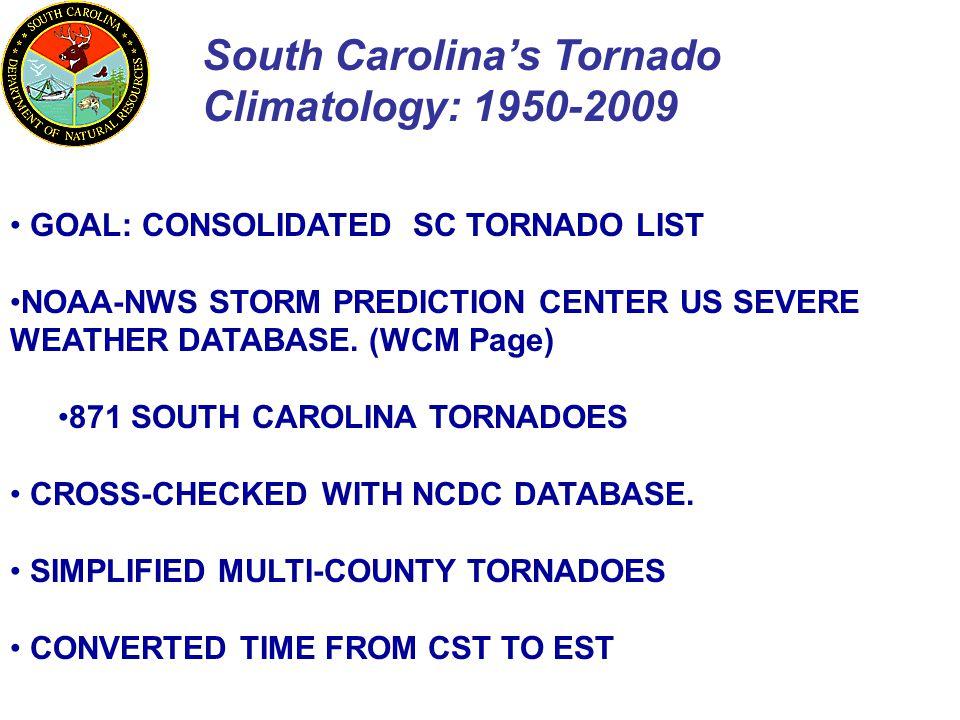 South Carolina's Tornado Climatology: 1950-2009