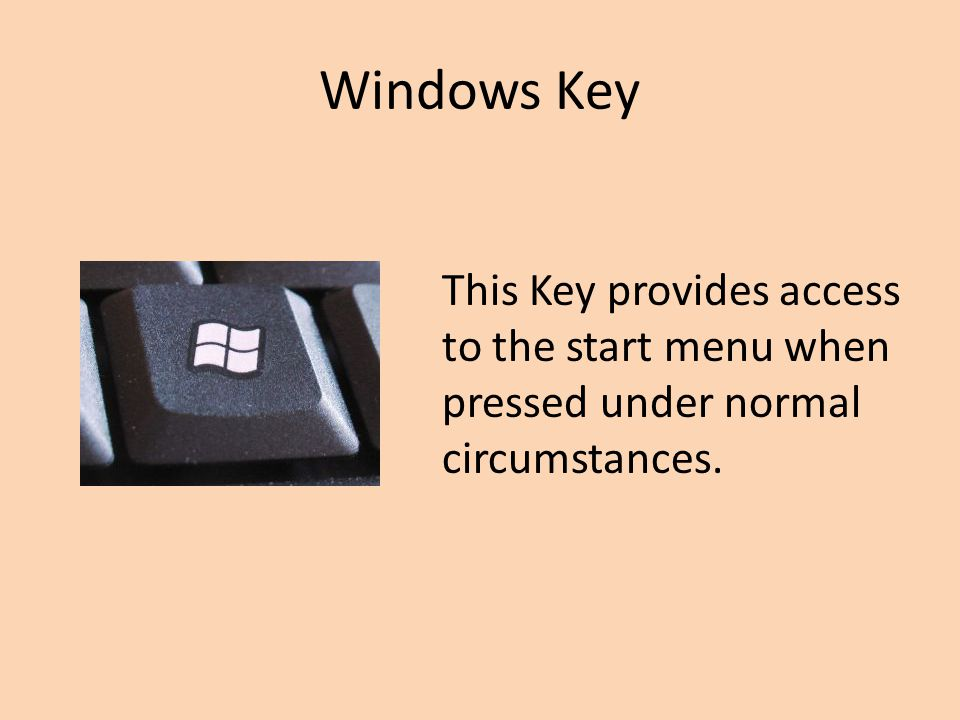 Windows Key This Key provides access to the start menu when pressed under normal circumstances.