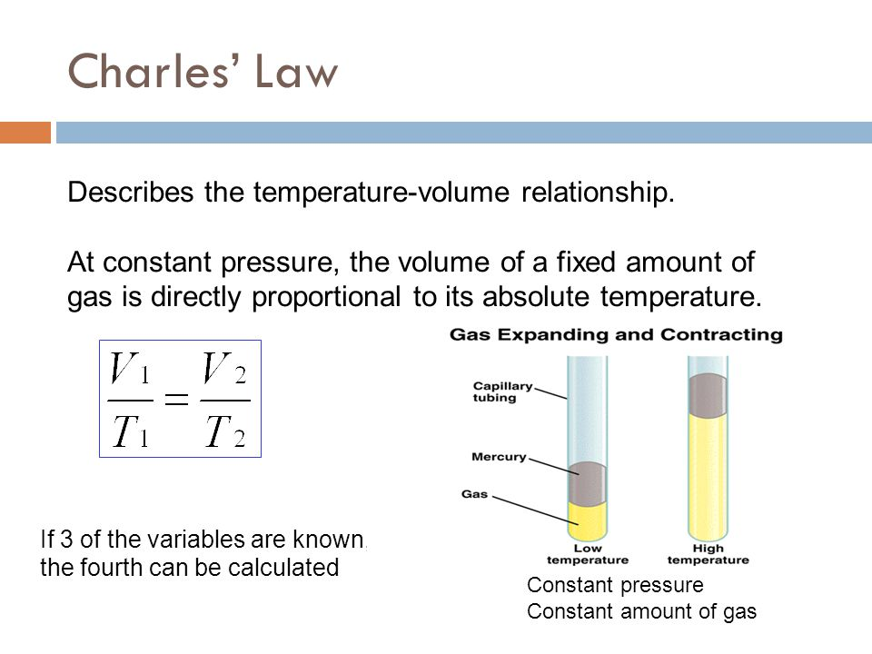Charles' Law Describes the temperature-volume relationship.