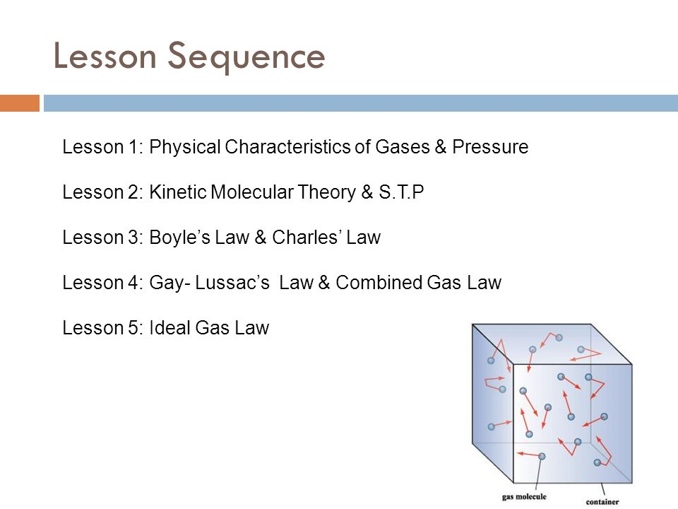 Lesson Sequence Lesson 1: Physical Characteristics of Gases & Pressure