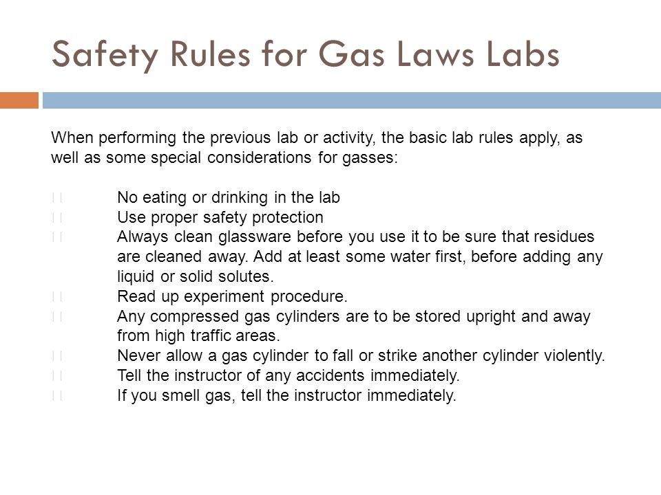 Safety Rules for Gas Laws Labs