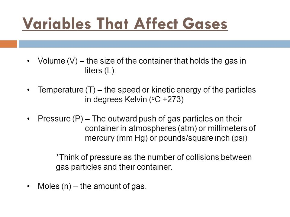 Variables That Affect Gases