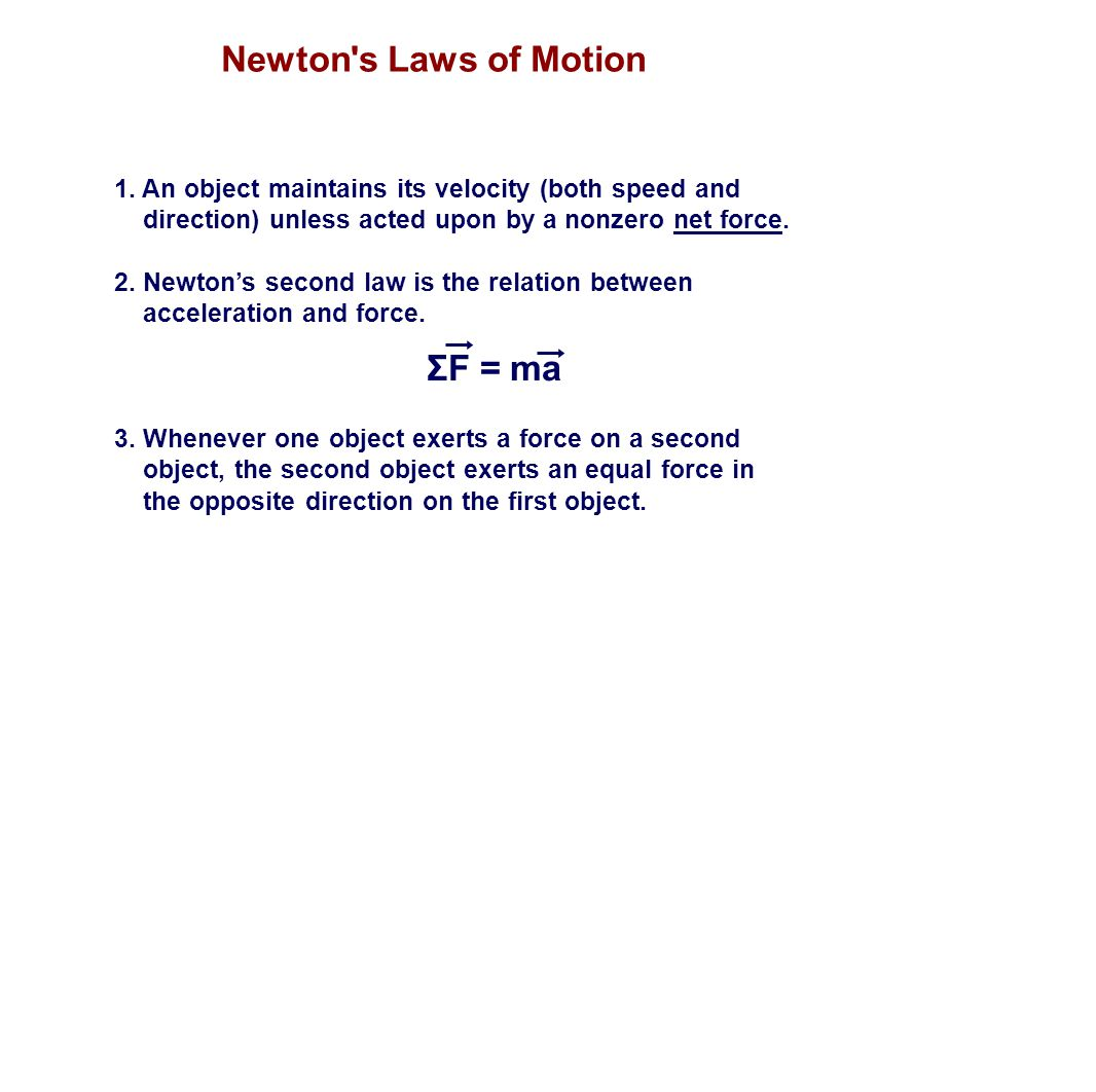 Newton s Laws of Motion ΣF = ma