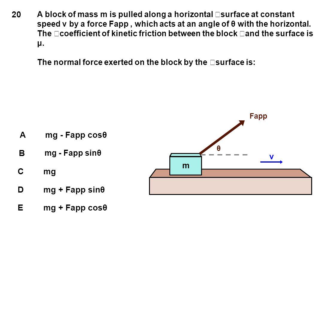 20 v m A mg - Fapp cosθ B C mg D mg + Fapp sinθ E mg + Fapp cosθ