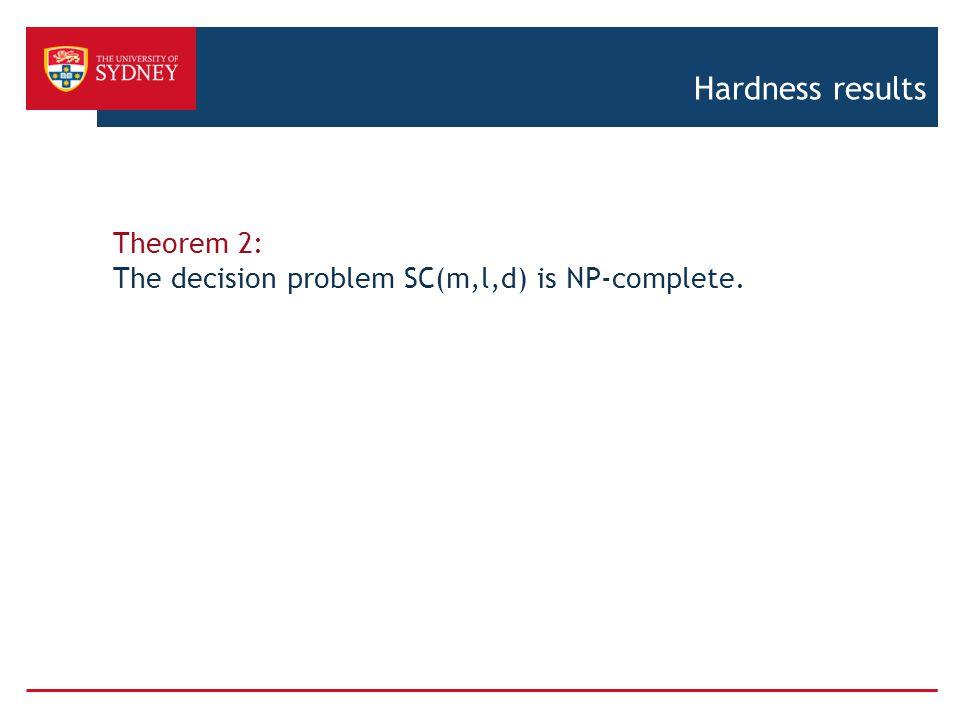 Hardness results Theorem 2: