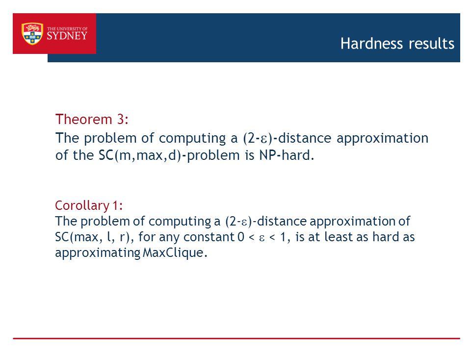 Hardness results Theorem 3: