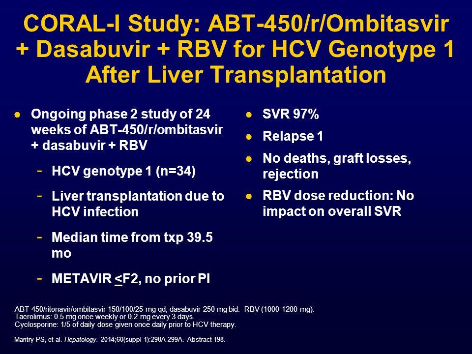 CORAL-I Study: ABT-450/r/Ombitasvir + Dasabuvir + RBV for HCV Genotype 1 After Liver Transplantation