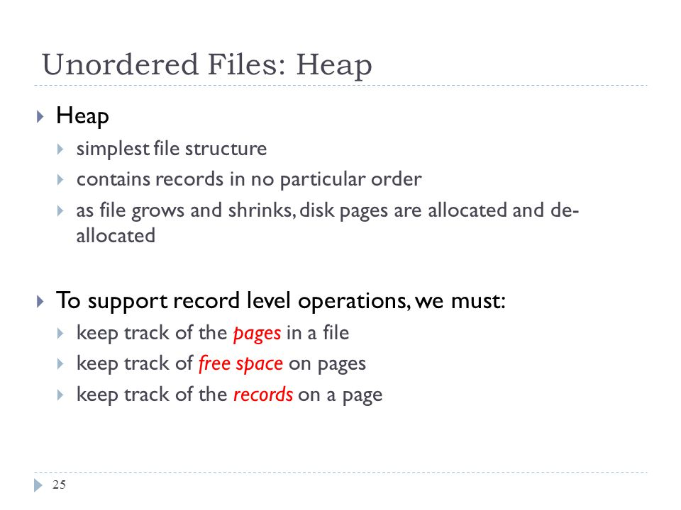 Unordered Files: Heap Heap