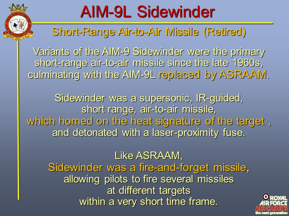 AIM-9L Sidewinder Short-Range Air-to-Air Missile (Retired)