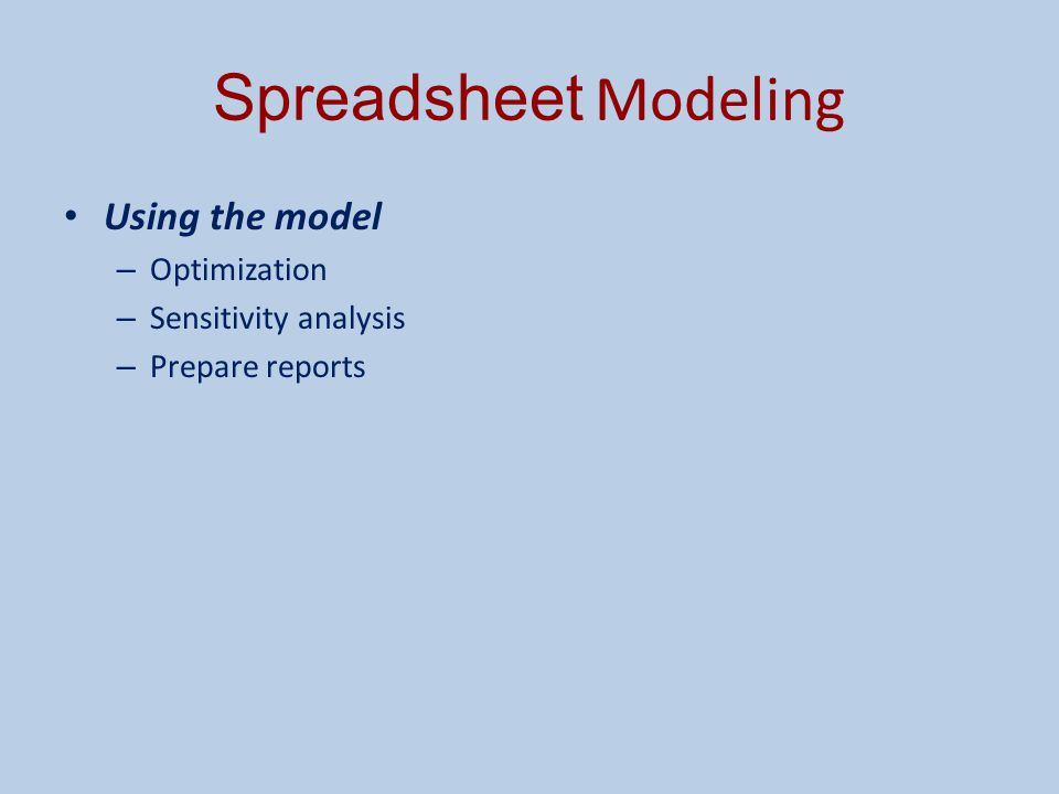 Spreadsheet Modeling Using the model Optimization Sensitivity analysis