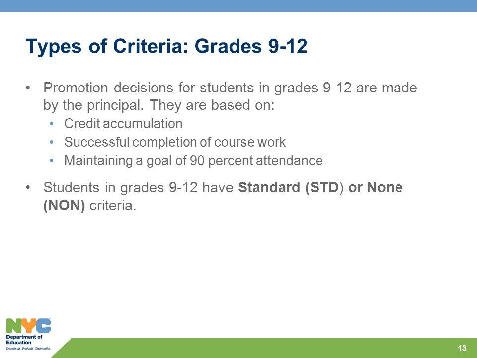 Types of Criteria: Grades 9-12