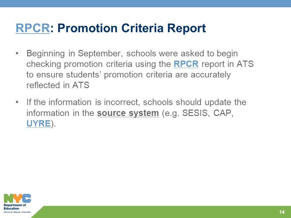 RPCR: Promotion Criteria Report