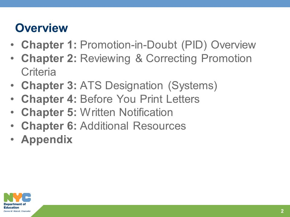Overview Chapter 1: Promotion-in-Doubt (PID) Overview