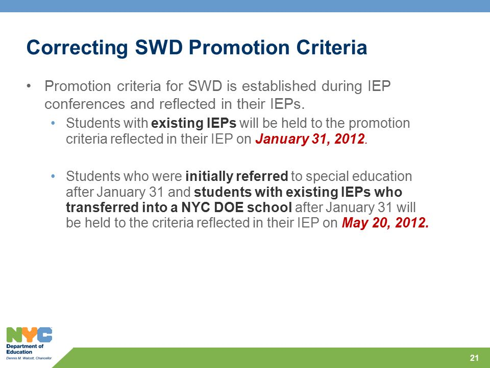 Correcting SWD Promotion Criteria